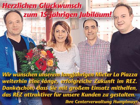 Herzlichen Glückwunsch zum 15-jährigen Jubiläum! La Piazza Bistro Restaurant