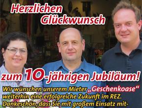 Die Geschenkoase im REZ<br>feiert 10-jähriges Jubiläum!
