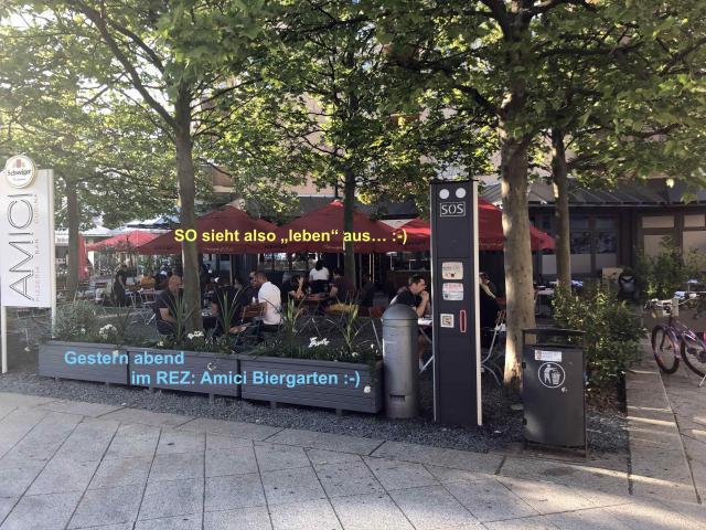 Die Biergärten im REZ sind für Sie geöffnet !